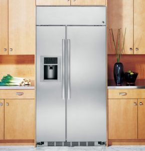 Stock Image of built-in refrigerator.